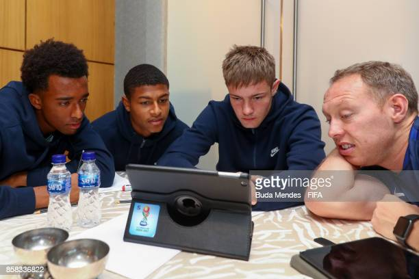 Tashan Oakley Boothe Rhian Brewster goalkeeper Josef Bursik and the head coach Steven Cooper of England attend a FIFA Ethics Workshop ahead of the...