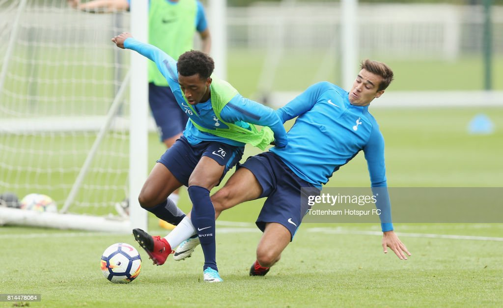 Tashan Oakley-Boothe and Harry Winks of Tottenham during the Tottenham Hotspur training session at Tottenham Hotspur Training Centre on July 14, 2017 in Enfield, England.