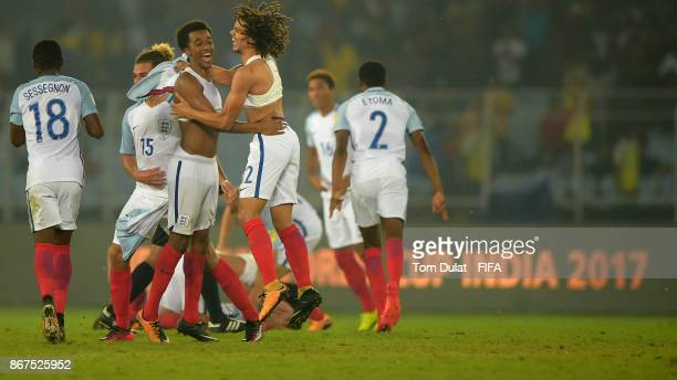 Tashan OakleyBoothe and Nya Kirby of England celebrate winning the FIFA U17 World Cup India 2017 Final match between England and Spain at Vivekananda...