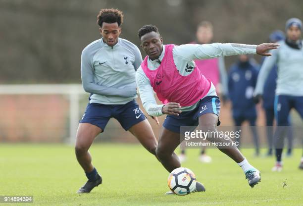 Tashan OakleyBoothe and Victor Wanyama of Tottenham Hotspur during the Tottenham Hotspur training session at Tottenham Hotspur Training Centre on...