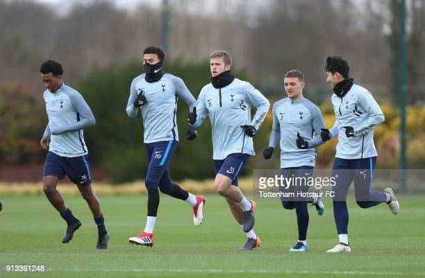 Tashan OakleyBoothe Dele Alli Eric Dier Kieran Trippier and HeungMin Son of Tottenham Hotspur during the Tottenham Hotspur training session at...