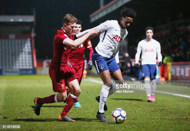 Tashan OakleyBoothe of Tottenham and Herbie Kane of Liverpool during the Premier League 2 match between Tottenham Hotspur and Liverpool at The Lamex...
