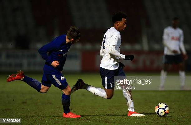 Tashan OakleyBoothe of Tottenham holds off pressure from Billy Gilmour of Chelsea during the FA Youth Cup match between Tottenham Hotspur and Chelsea...