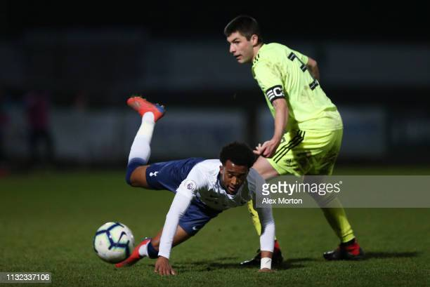 Tashan OakleyBoothe of Tottenham Hotspur and Jakov Gogic of Dinamo Zagreb during the Premier League International Cup match between Tottenham Hotspur...