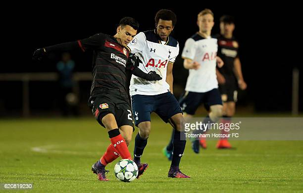 Tashan OakleyBoothe of Tottenham Hotspur competes for the ball with Atakan Akkaynak of Bayer Leverkusen during the UEFA Youth League match between...