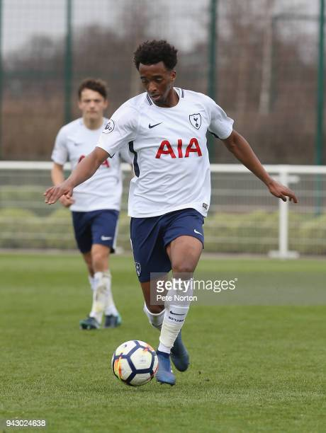 Tashan OakleyBoothe of Tottenham Hotspur in action during the Premier League 2 match between Tottenham Hotspur and Derby County on April 7 2018 in...