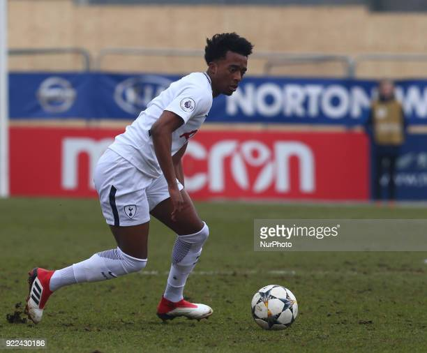 Tashan OakleyBoothe of Tottenham Hotspur U19s during UEFA Youth League Round 16 match between Tottenham Hotspur U19s and AS Monaco U19s at Lamex...