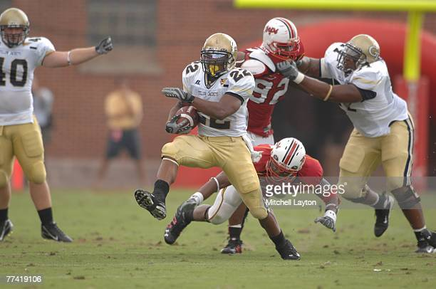 Tashard Choice of the Georgia Tech Yellow Jackets runs with the ball during a college football game against the Maryland Terrpins at Byrd Stadium on...