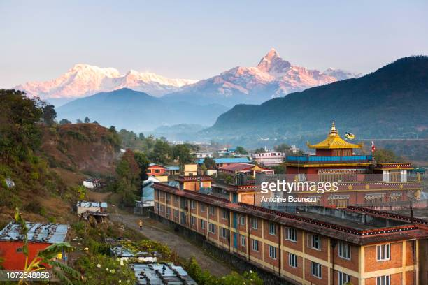 tashi palkhiel refugee camp monastery near pokhara, nepal - nepal stock pictures, royalty-free photos & images
