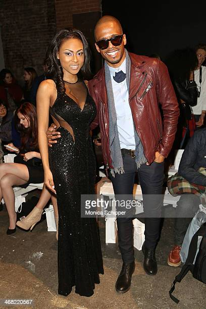 Tashiana Washington and actor Eric West attend the Rolando Santana fashion show during MercedesBenz Fashion Week Fall 2014 at Eyebeam on February 9...