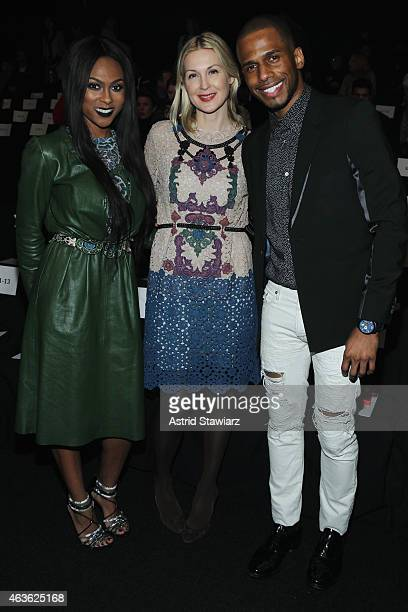 Tashiana Washington Kelly Rutherford and Eric West attend the Vivienne Tam fashion show during MercedesBenz Fashion Week Fall 2015 at The Theatre at...