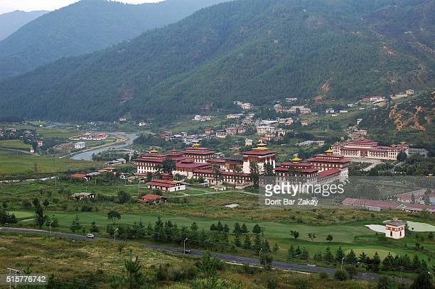 Tashichho Dzong that located in northern edge of the Thimphu the capital city, on the western bank of the Wang Chu River. Thimphu, Bhutan
