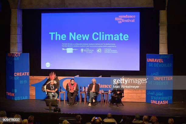 Tashka Yawanawa Bart Powaukee Anote Tong and Janaya Khan speak onstage during The New Climate Panel during the 2018 Sundance Film Festival at...