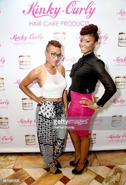 Tasia Foster and Briana Hunter attend the KinkyCurly 'Sneak Peek' event at the Four Seasons Hotel Los Angeles on April 30 2014 in Beverly Hills...
