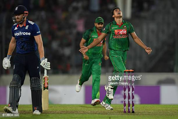 Taskin Ahmed of Bangladesh celebrates dismissing Jonathan Bairstow of England during the 2nd One Day International match between Bangladesh and...