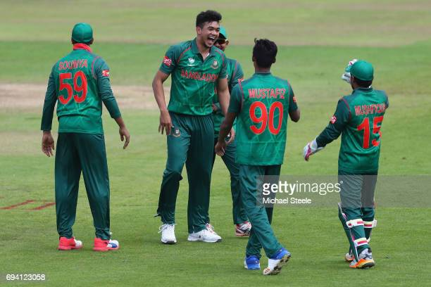 Taskin Ahmed of Bangladesh celebrates taking the wicket of Ross Taylor of New Zealand during the ICC Champions Trophy match between New Zealand and...