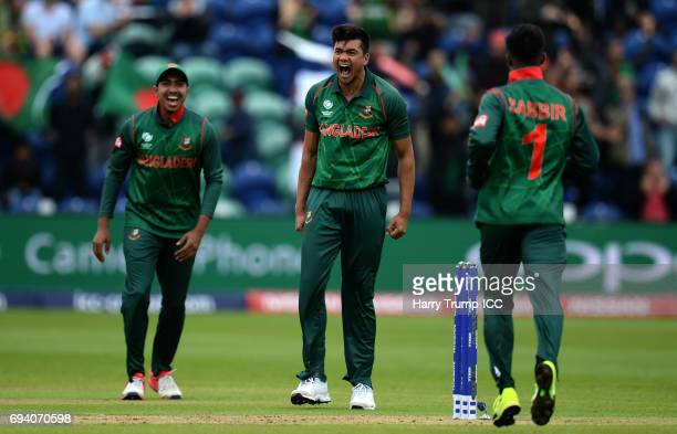 Taskin Ahmed of Bangladesh celebrates the wicket of Luke Ronchi of New Zealand during the ICC Champions Trophy match between New Zealand and...