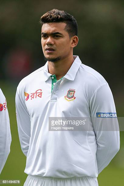 Taskin Ahmed of Bangladesh looks on prior to making his international test debut during day one of the First Test match between New Zealand and...
