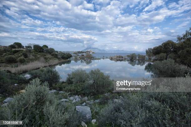 taslik beach view on a cloudy day,datca peninsula. - emreturanphoto stock pictures, royalty-free photos & images