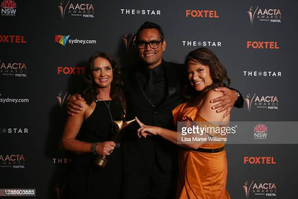 Tasma Walton, Rob Collins and Ngaire Pigram pose with the AACTA Award for Best Drama Series during the 2020 AACTA Awards presented by Foxtel at The...