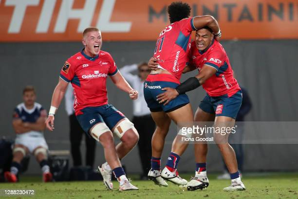Tasman celebrates winning during the Mitre 10 Cup Final between Auckland and Tasman at Eden Park on November 28, 2020 in Auckland, New Zealand.