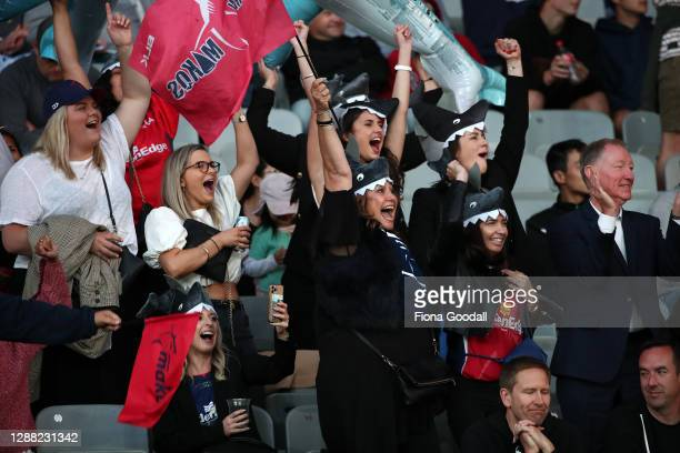 Tasman fans including National MP Nick Smith during the Mitre 10 Cup Final between Auckland and Tasman at Eden Park on November 28, 2020 in Auckland,...