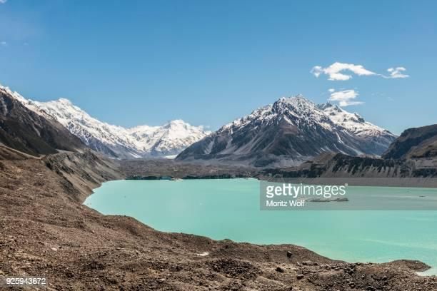 Tasman Glacier and turquoise glacier lake, Mount Tasman, Mount Cook National Park, Southern Alps, Canterbury Region, Southland, New Zealand