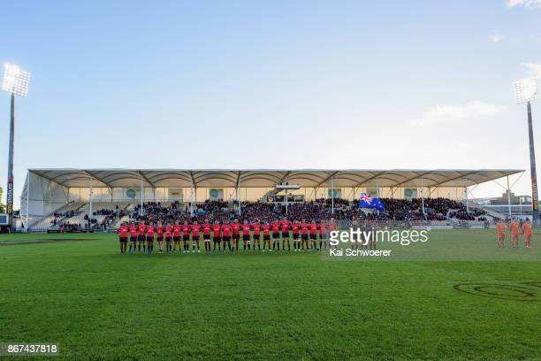 Tasman line up for the national anthem prior to the Mitre 10 Cup Premiership Final match between Canterbury and Tasman at AMI Stadium on October 28...