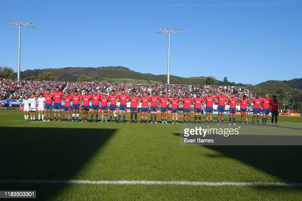 Tasman Mako team during the Mitre 10 Cup Premiership Final between Tasman and Wellington at Trafalgar Park on October 26 2019 in Nelson New Zealand