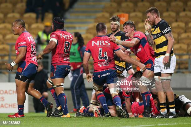 Tasman players celebrate after the final whistle during the Mitre 10 Cup Semi Final match between Taranaki and Tasman at Yarrow Stadium on October 21...