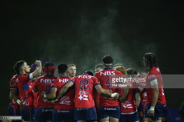 Tasman regroup during the round 5 Mitre 10 Cup match between Counties Manukau and Tasman on September 06 2019 in Pukekohe New Zealand