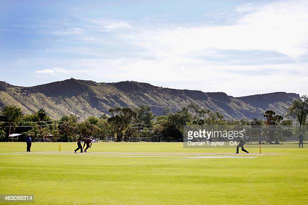 Tasmania and Queensland play during the 20415 Imparja Cup on February 9 2015 in Alice Springs Australia