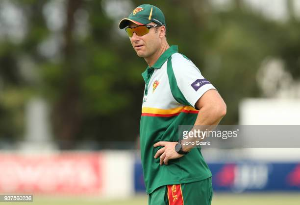 Tasmania coach Adam Griffith looks on during day three of the Sheffield Shield final match between Queensland and Tasmania at Allan Border Field on...
