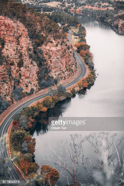 tasmania landscape from top view during autumn - tasmania stock pictures, royalty-free photos & images