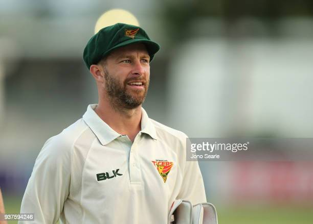 Tasmania player David Warner looks on at the end of play during day three of the Sheffield Shield final match between Queensland and Tasmania at...