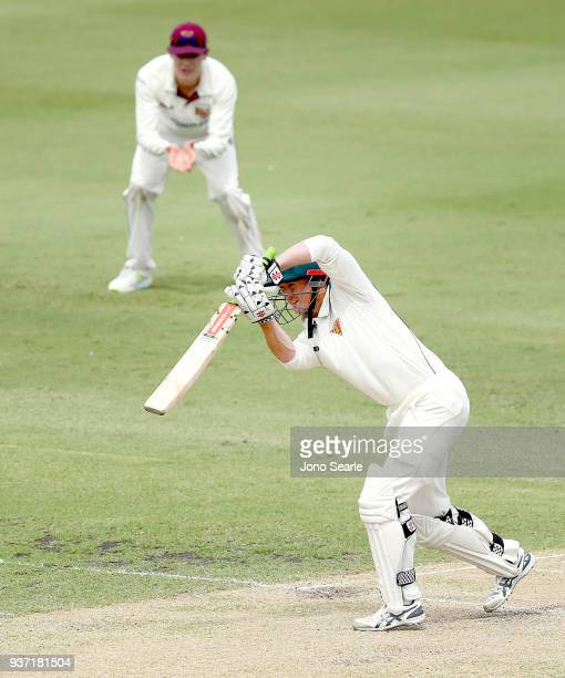 Tasmania player George Bailey plays a shot during day two of the Sheffield Shield Final match between Queensland and Tasmania at Allan Border Field...