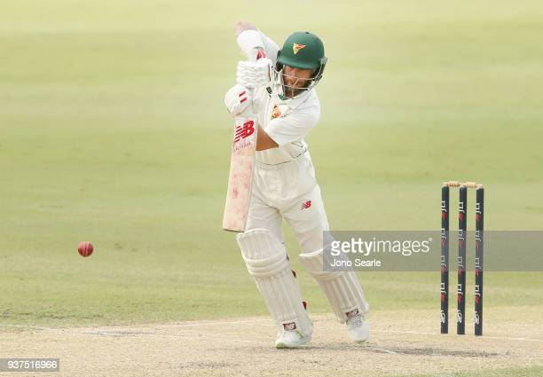 Tasmania player Matthew Wade plays a shot during day three of the Sheffield Shield final match between Queensland and Tasmania at Allan Border Field...
