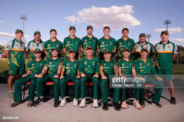 Tasmania poses for a team shot during the National Indigenous Cricket Championships on February 11 2017 in Alice Springs Australia