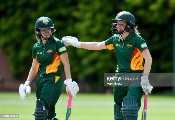Tasmanian batsman Laura Wright and Georgia Redmayne during the WNCL match between Tasmania and Western Australia at Adelaide Oval No2 on October 7...