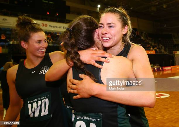 Tasmanian Magpie players celebrate during the Australian Netball League grand final between the Tasmanian Magpies and the Canberra Giants at AIS...