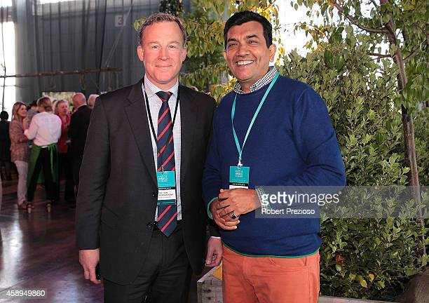 Tasmanian Premier Will Hodgman and Sanjeev Kapoor from India attend the Restaurant Australia Marketplace event at Macquarie Wharf on November 14 2014...