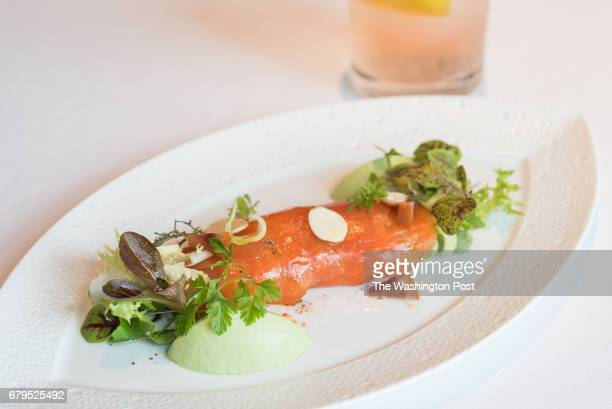 Tasmanian Sea Trout house smoked with fennel panna cotta and marcona almonds at Mirabelle