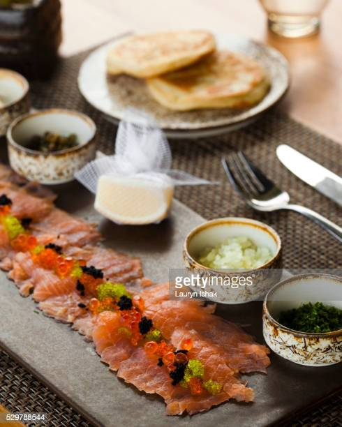 tasmanian smoked salmon - lauryn ishak stock pictures, royalty-free photos & images