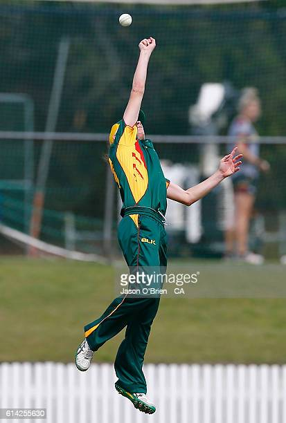 Tasmania's Julie Hunter attempts to take a catch during the WNCL match between Queensland and Tasmania at Allan Border Field on October 13 2016 in...