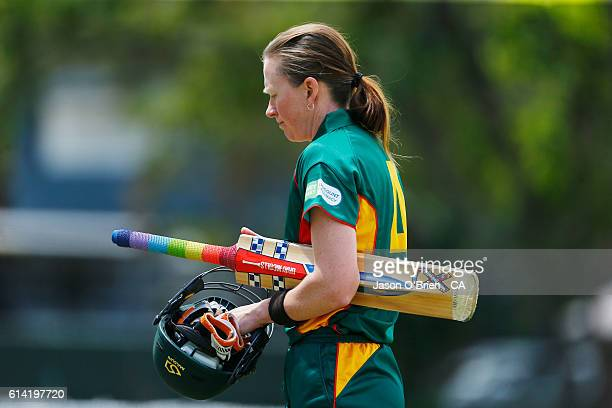 Tasmania's Veronica Pyke after being dismissed during the WNCL match between Queensland and Tasmania at Allan Border Field on October 13 2016 in...