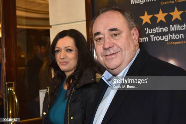 Tasmina AhmedSheikh and Alex Salmond attend the press night performance of 'Beginning' at the Ambassadors Theatre on January 23 2018 in London England