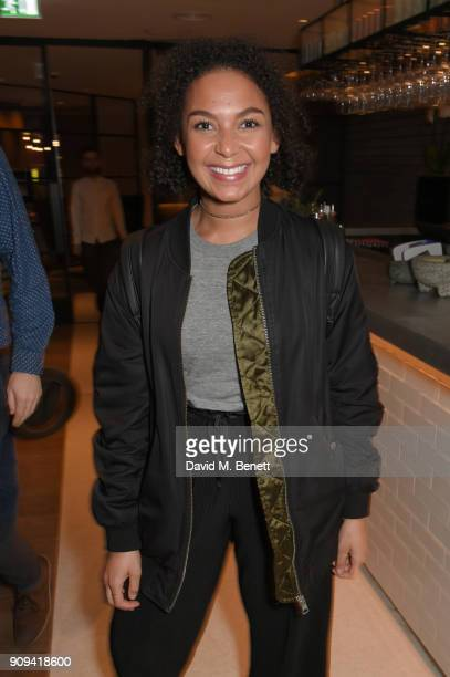 Tasmina AhmedSheikh attends the press night performance of 'Beginning' at the Ambassadors Theatre on January 23 2018 in London England