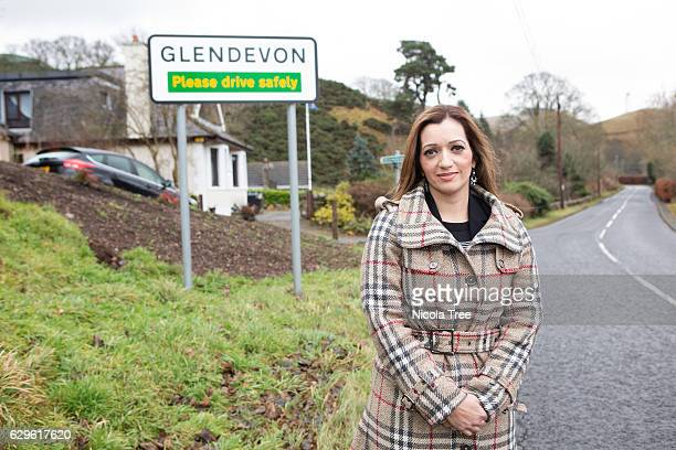 Tasmina AhmedSheikh SNP MP for Ochil and South Perthshire poses while working in her constituency on December 9 2016 in Glendevon near Alloa Scotland