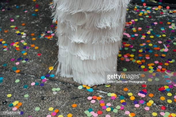 tasseled wedding skirt dress with colourful confetti - fringe dress stock pictures, royalty-free photos & images