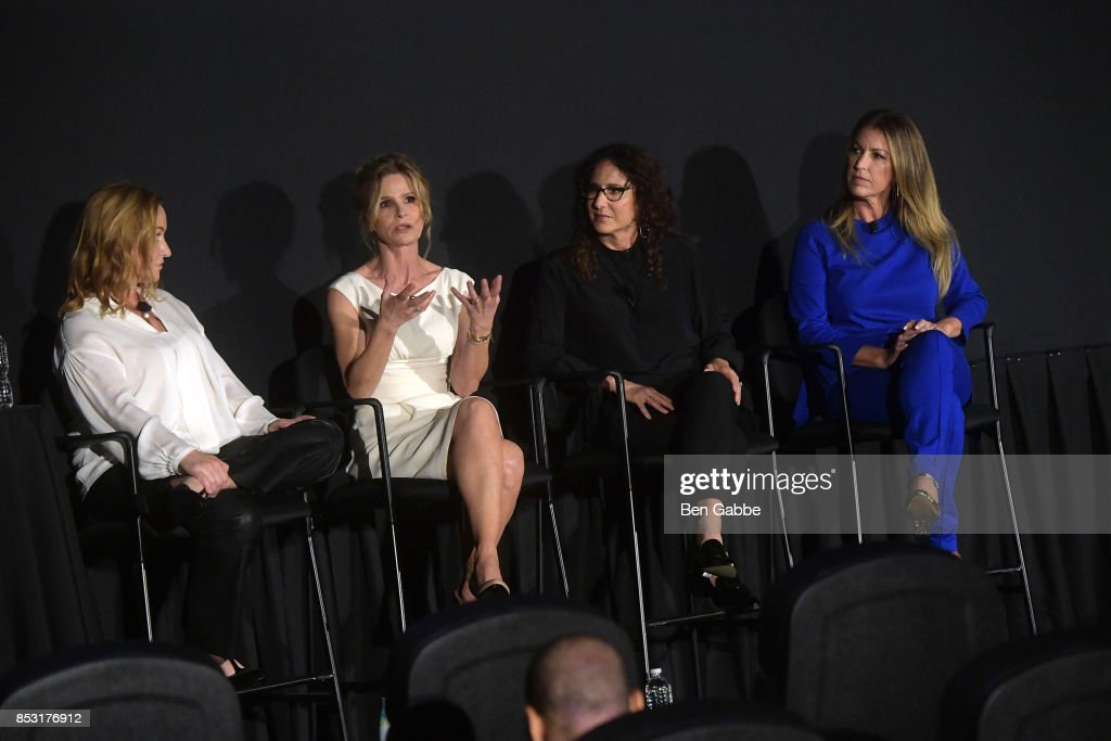 Tassie Cameron, Kyra Sedgwick, Marcy Ross and Jill Littman speak at the Tribeca TV Festival series premiere of Ten Days in the Valley at Cinepolis Chelsea on September 24, 2017 in New York City.